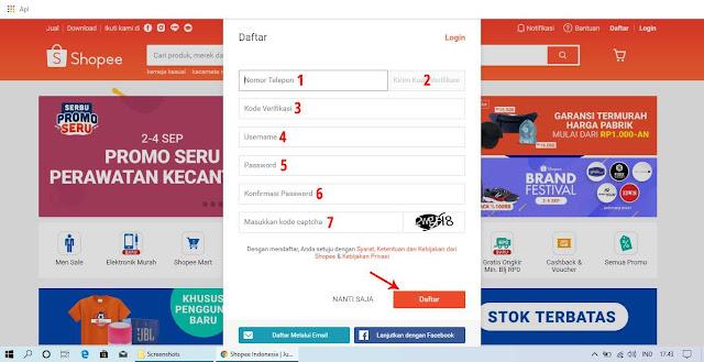 Cara Daftar Akun Shopee dengan Menggunakan Nomor Telepon