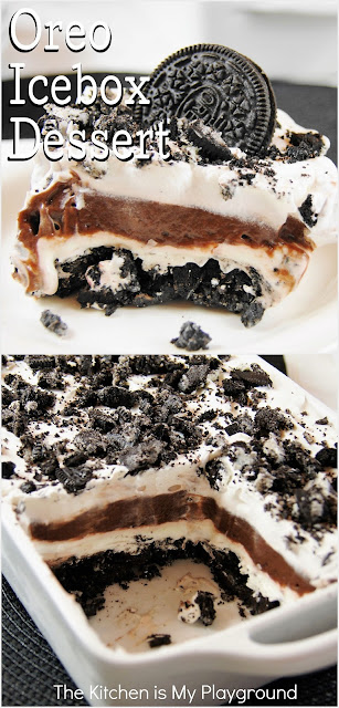 Classic Oreo Icebox Dessert ~ Who doesn't love an Oreo? Well, they're even better in this classic Oreo Icebox Dessert. With layers of Oreo, pudding, and whipped cream, it's total yum!  www.thekitchenismyplayground.com