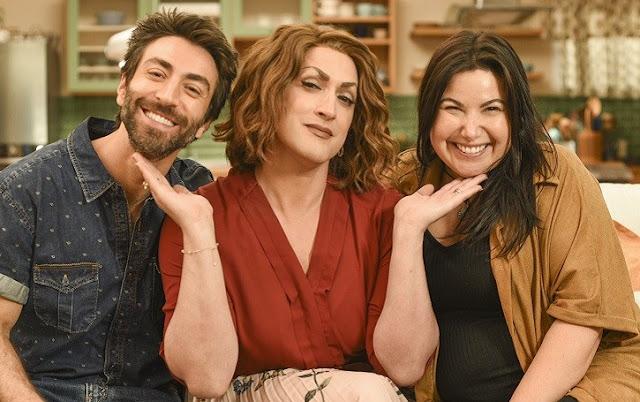 Rodrigo Pandolfo, Paulo Gustavo e Mariana Xavier no terceiro filme Minha Mãe é Uma Peça