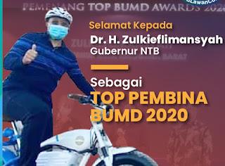 Gubernur NTB Dianugerahi TOP Pembina BUMD 2020