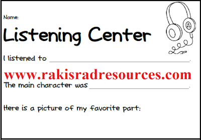 Free listening center recording sheet for primary students from Raki's Rad Resources.