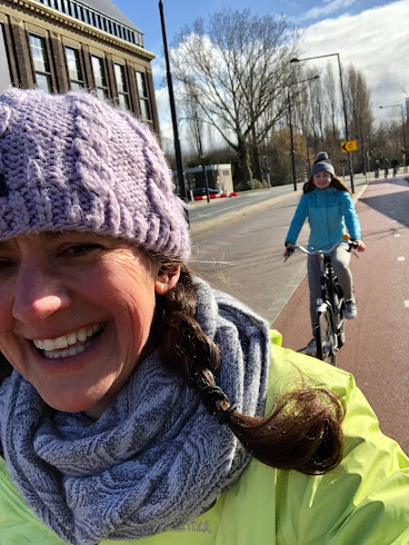 Riding bikes in Delft, Netherlands