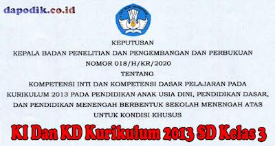 KI Dan KD Kurikulum 2013 SD Kelas 3 Untuk Kondisi Khusus Berdasarkan Keputusan Balitbang kemdikbud Nomor 018/ H/KR/2020