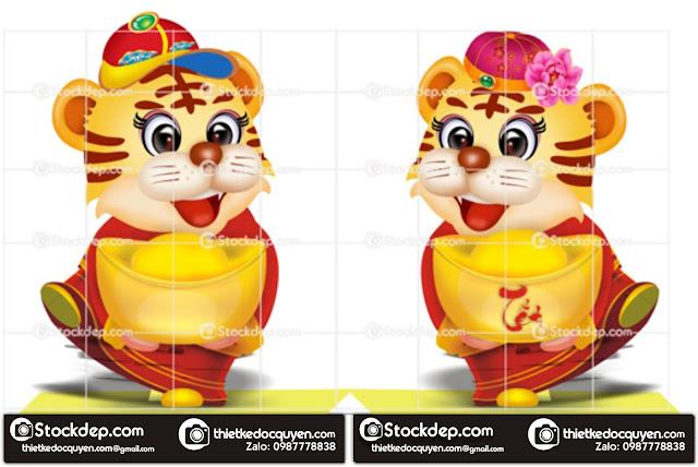 Vector con hổ in lịch tết