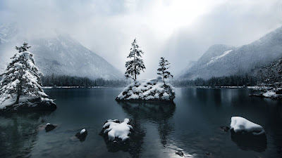 Wallpaper free snow, winter, mountains, lake, forest, trees, fog