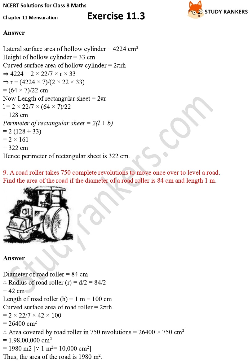 NCERT Solutions for Class 8 Maths Ch 11 Mensuration Exercise 11.3 5