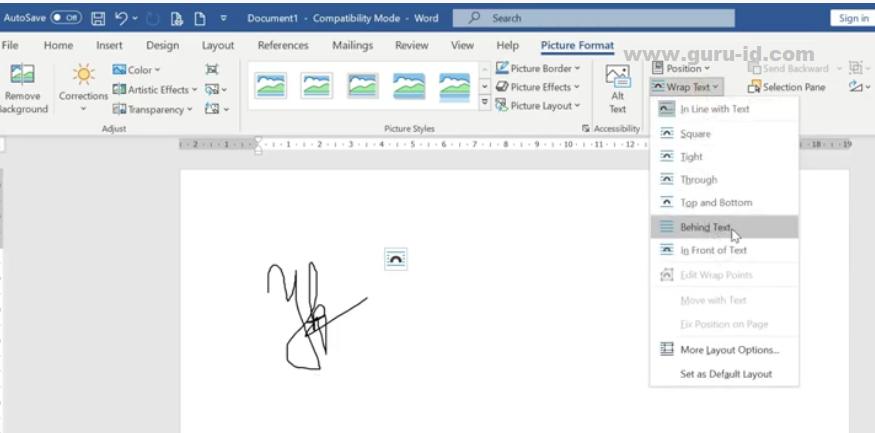 gambar memasukkan tanda tangan kedalam dokumen word