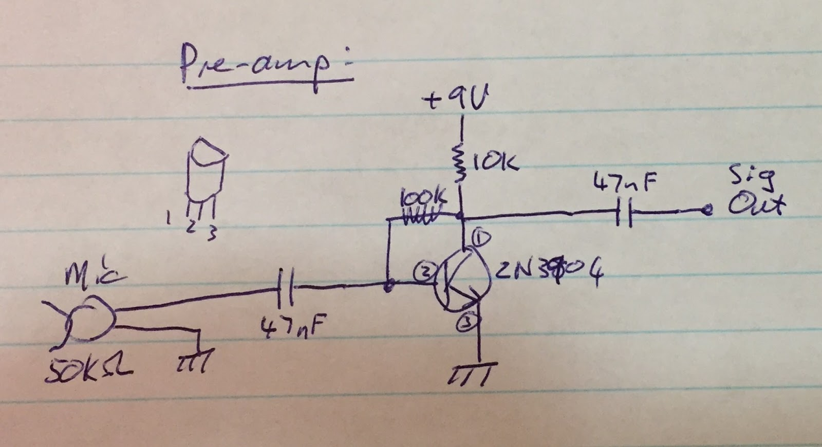 Zs6svj Simple Audio Preamplifier Circuit Using Single Transistor 2n3904 The Third Type Of Input Is Normal Line In Or Modern Dynamic Microphone Such As Comes With Yaesu Ft991 Output From Your Computer