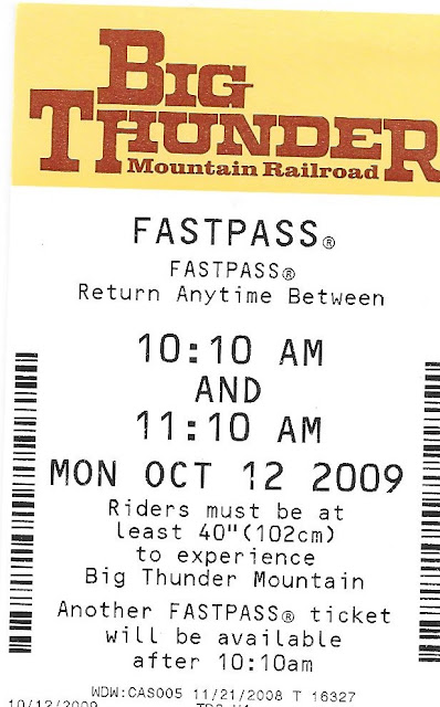 Big Thunder Mountain Railroad Fastpass October 2009