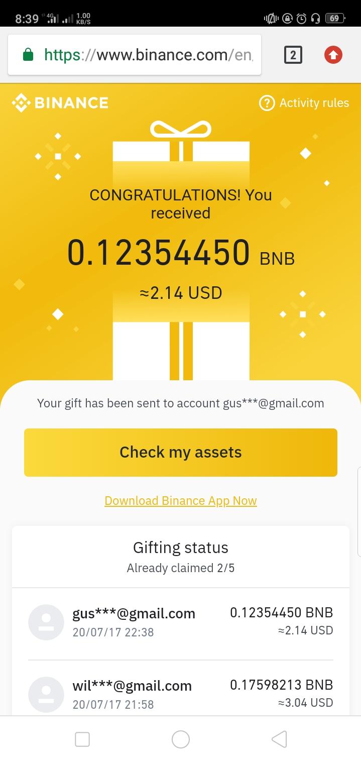 Binance gift box account