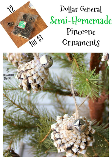 Semi-Homemade Pinecone Christmas Tree Ornaments #upcycle #semi-homemadeornament #Dollargeneral
