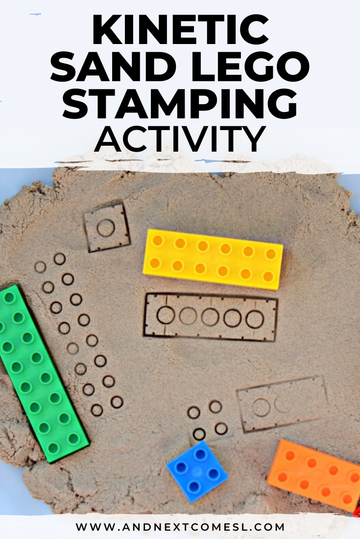 Looking for kinetic sand activities? Try this LEGO stamping kinetic sand activity that's perfect for toddlers and preschoolers!