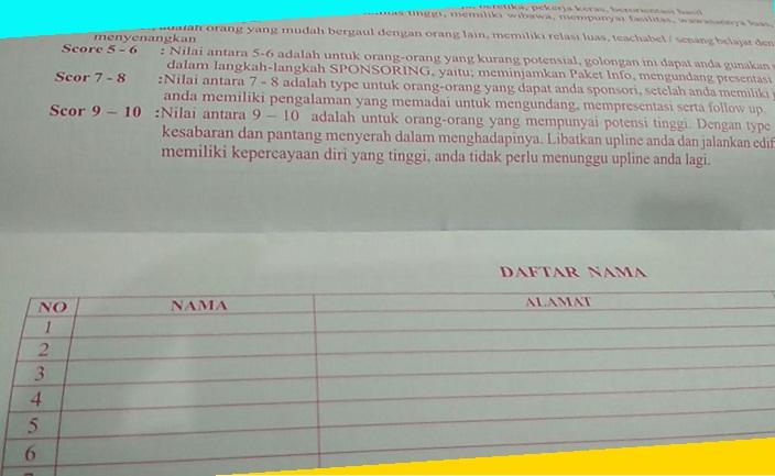 tabel menulis daftar nama prosepek bisnis nasa