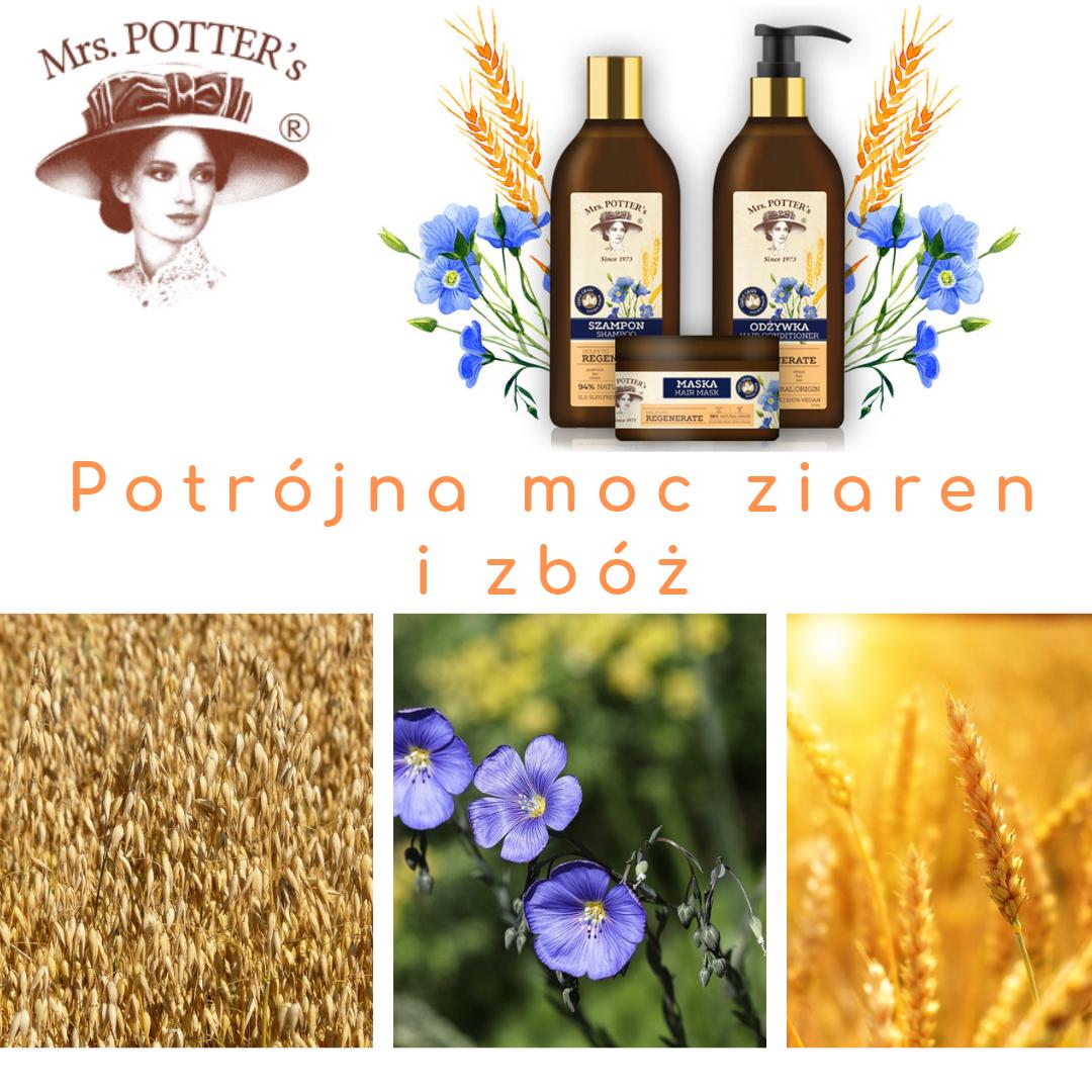 MRS. POTTER'S - Potrójna moc ziaren i zbóż. Seria kosmetyków do zniszczonych włosów