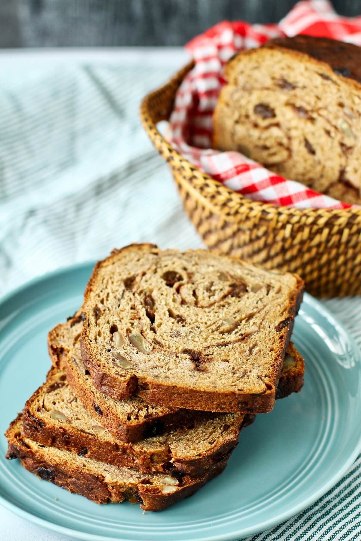 Whole wheat cinnamon bread with pecans