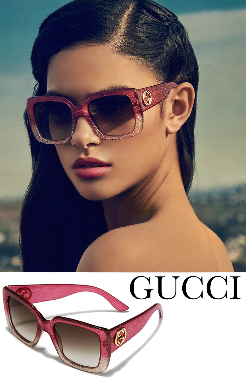 Gucci 53MM Oversized Square Glitter Sunglasses