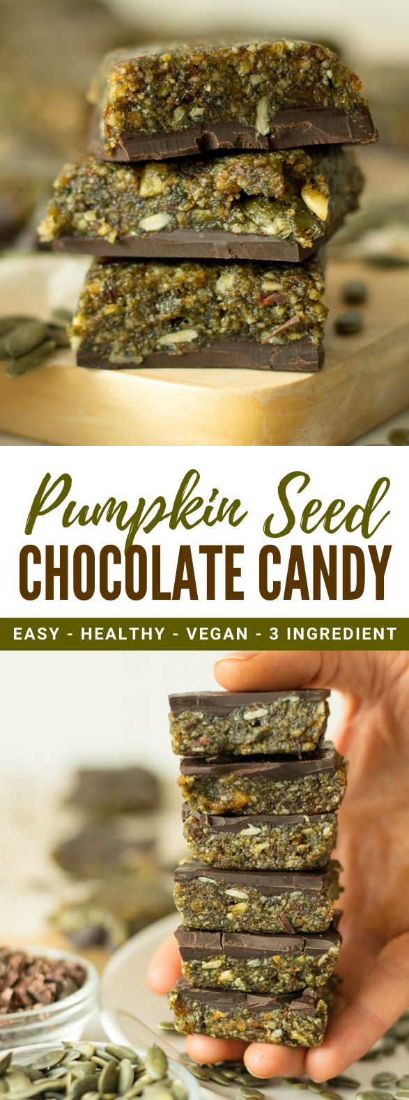 3 INGREDIENT PUMPKIN SEED CHOCOLATE CANDY RECIPE #protein #healthy