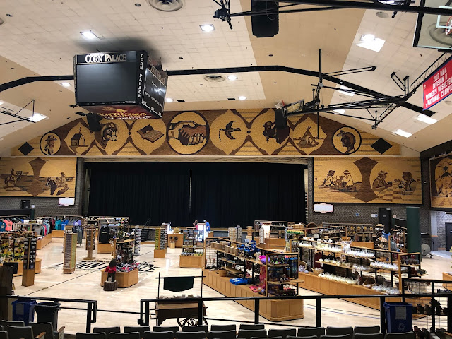 Basketball Tournaments are played in the arena at the Corn Palace.