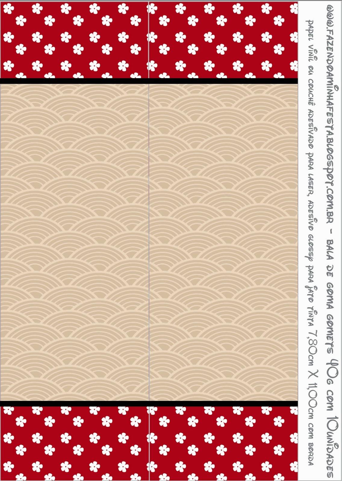 Etiquetas para Imprimir Gratis de Fiesta Estilo Japonés.