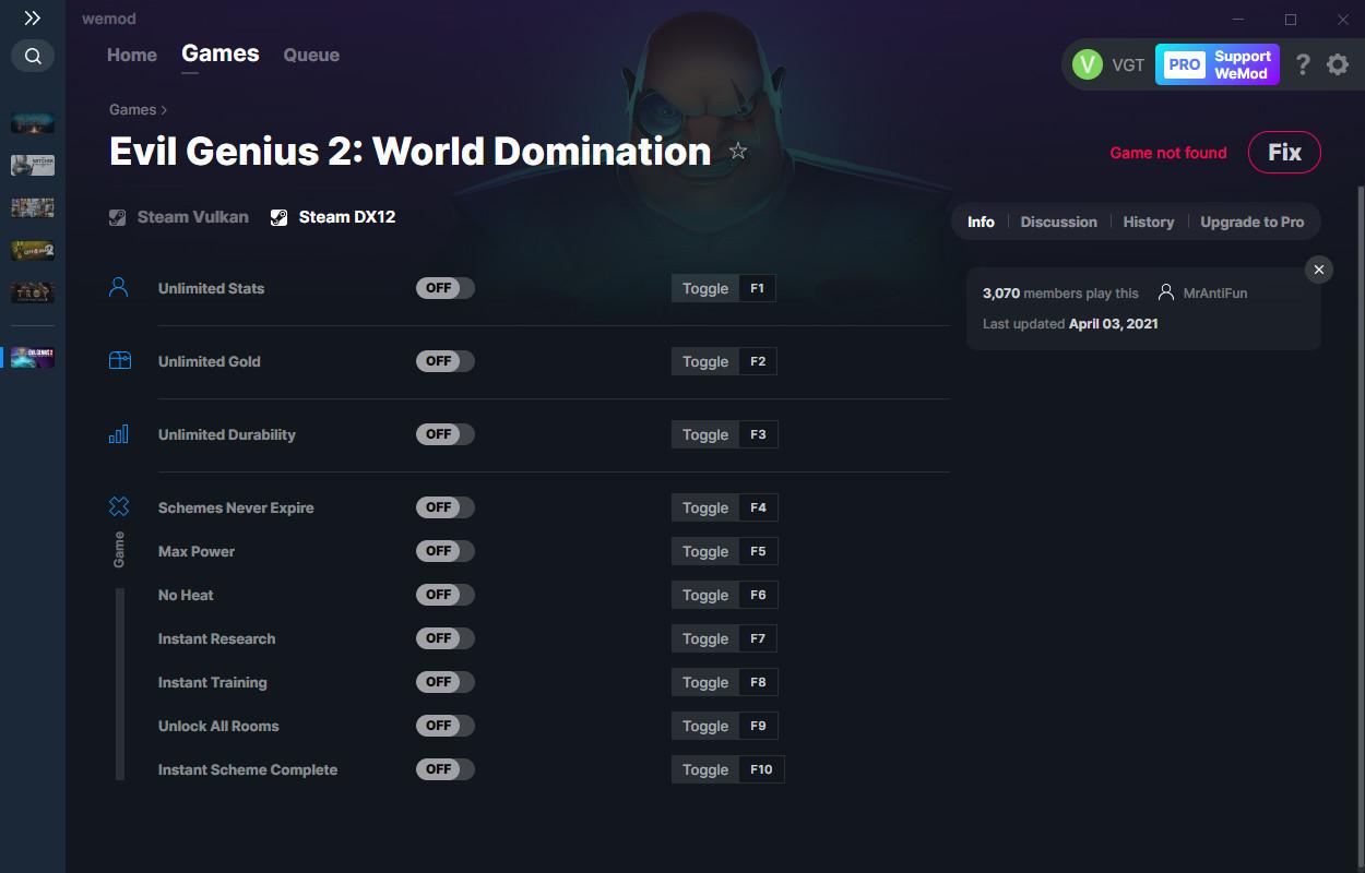 Evil Genius 2: World Domination: Trainer (+10) from 04/03/2021 [WeMod]