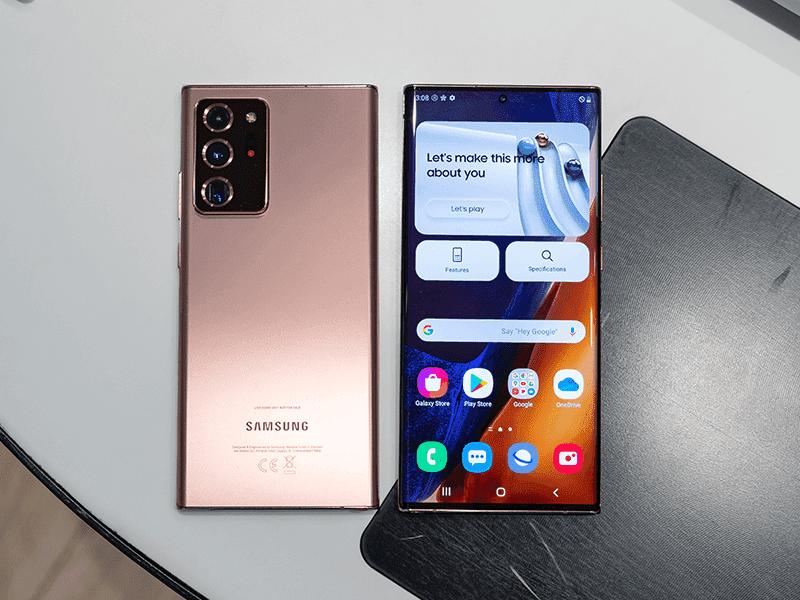 Samsung Galaxy Note20 Ultra display and back