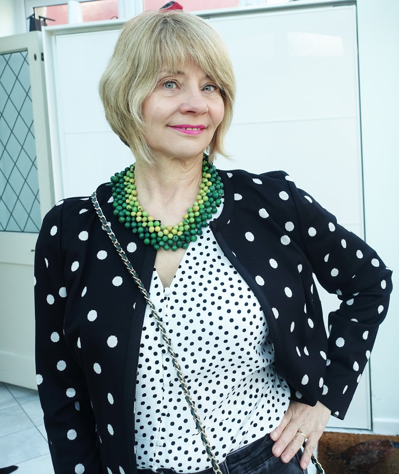 Monochrome with polka dots and a splash of green from over-50s style blogger Gail Hanlon