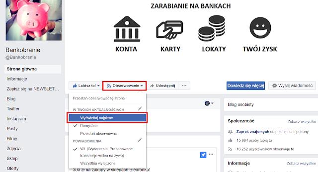 Facebook Bankobranie jak wybrać opcję wyświetlaj najpierw w powiadomieniach na Facebooku