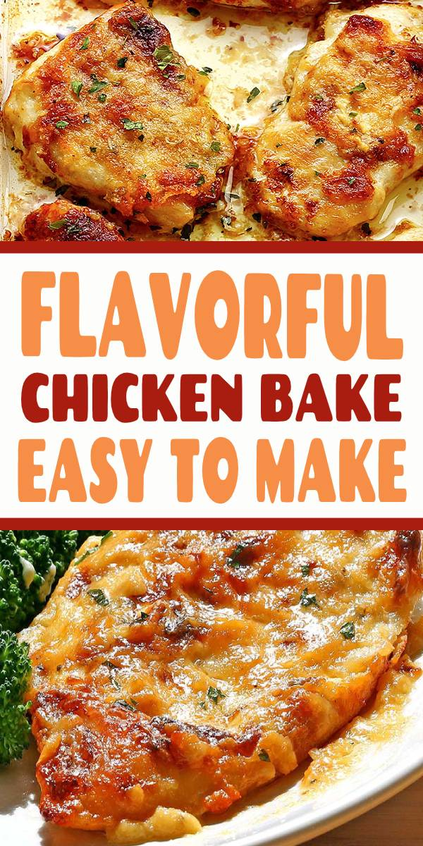 A flavorful chicken dish that will be a new family favorite! Only a few ingredients needed, most of which you may already have on hand! #Chicken #baked #chickenrecipe #bakedchicken #dinner