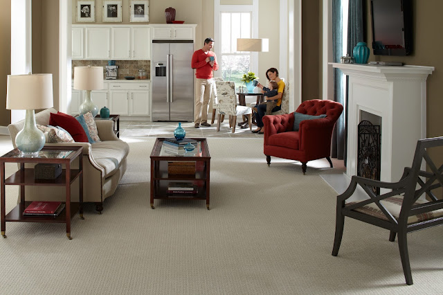 Carpet makes this family room comfortable