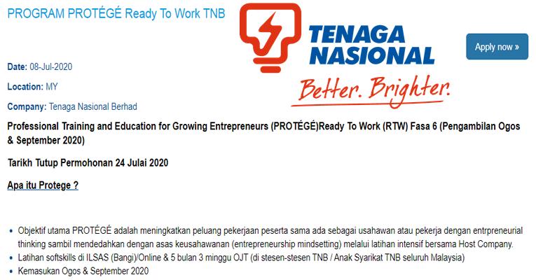 Pengambilan Terkini di PROGRAM PROTÉGÉ Ready To Work TNB