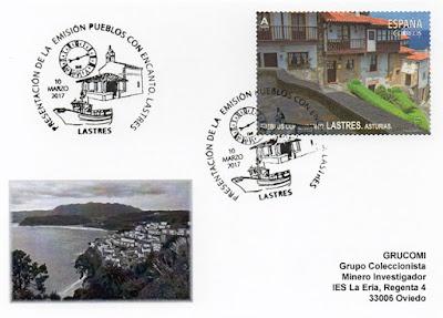 Tarjeta del matasellos de presentación del sello de Lastres