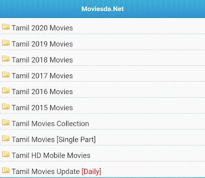 Categories of Movies on Moviesda 2020