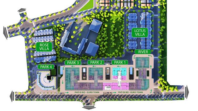 Khu Shophouse có tại các tòa Park 1, 2, 3 và tòa River