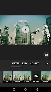 Cara edit video menambah filter efek dan adjust video menggunakan aplikasi Inshot di Android