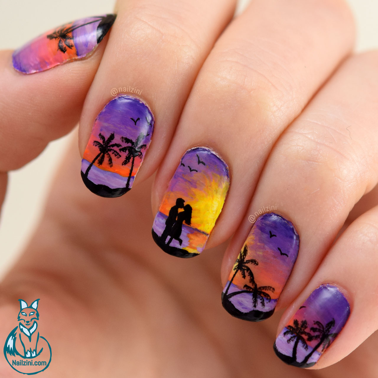 Beach Sunset Valentine Nail Art Nailzini