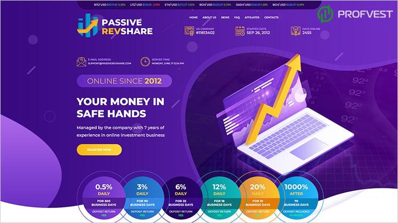 Passive Revenue Share LTD обзор и отзывы HYIP-проекта