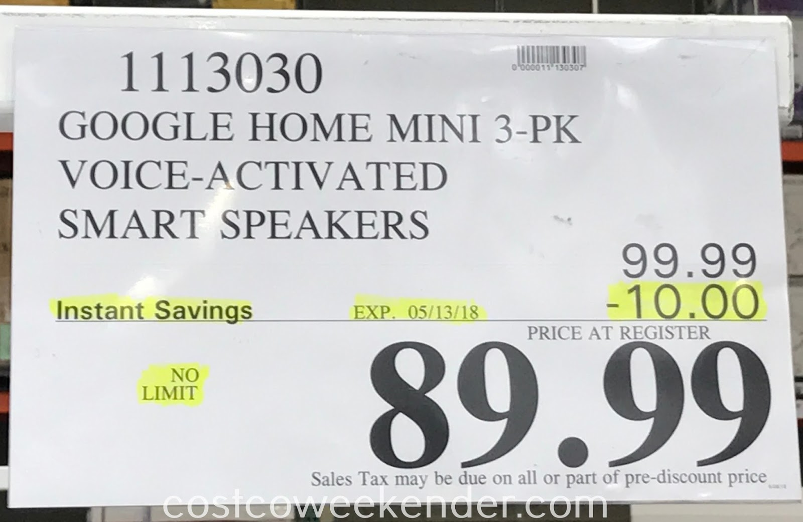 Deal for a 3 pack of Google Home Mini Voice Activated Smart Speakers at Costco