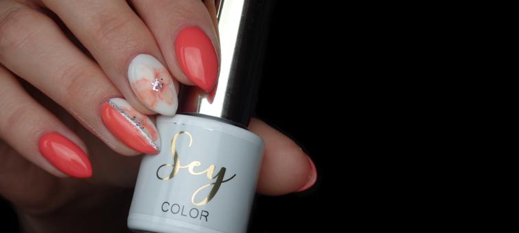 SEY | Cosmetics Zone | s128 Energetic Peach | floral watercolor nails | kwiaty na paznokciach | flower nails | watercolor nails | s001 Pure White | Gel Art 085 Silver Patina | farbki akwarelowe na paznokciach |