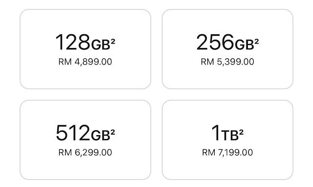 kapasiti dan harga iPhone 13 pro