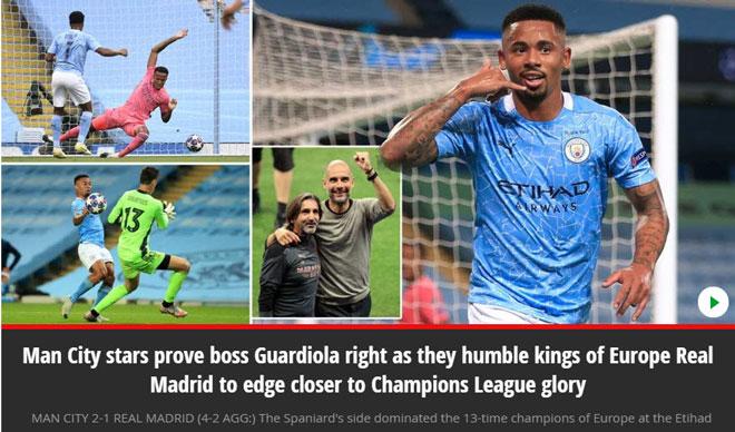 """Man City hạ bệ """"cựu vương"""" Real: Báo Anh mơ chức vô địch Champions League"""