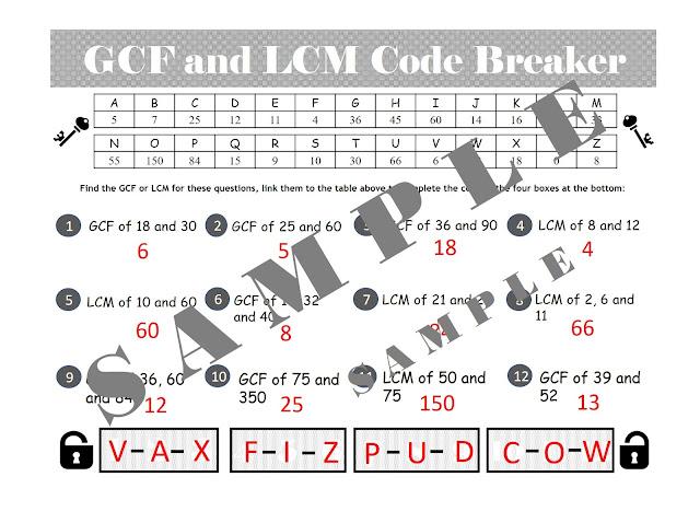 Gcf And Lcm Worksheet / Grade 5 Factoring Worksheets Free