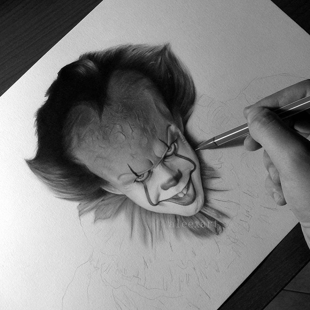 09-Pennywise-It-WIP-Alex-Manole-Celebrities-Drawn-in-Realistic-Portraits-www-designstack-co