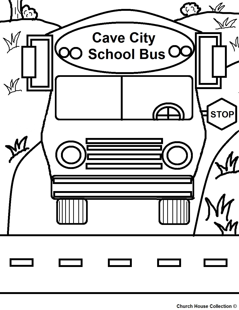 Cave City School Bus Coloring Page Printable Version