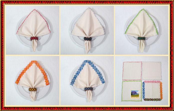 Guardanapo de tecido com borda pintada 1