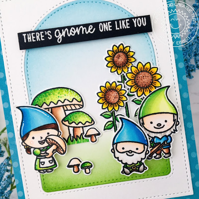 Sunny Studio Stamps: Stitched Arch Dies Home Sweet Gnome Happy Harvest Frilly Frame Dies Everyday Card by Ashley Ebben