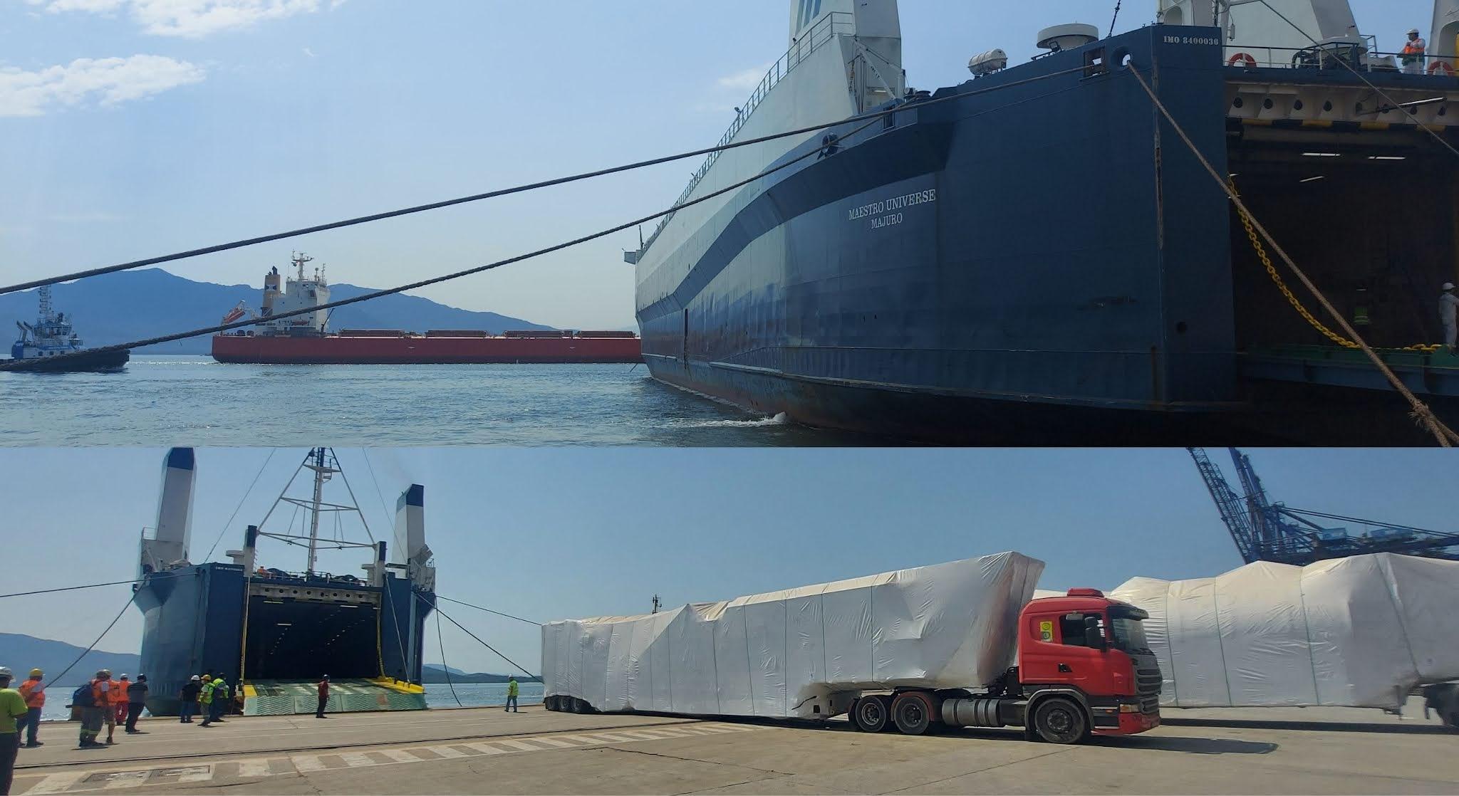 Navio atraca na perpendicular e chama atenção no Porto de Paranaguá