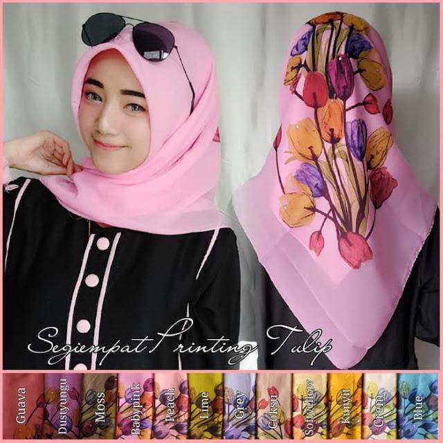 Jilbab Segi Empat Printing Premium Tebal Motif Bunga tulip