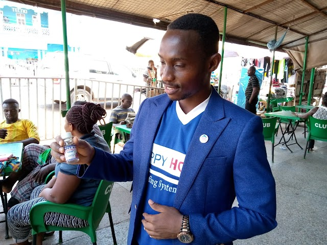 Happy Home Roofing System Donates Hand Sanitizers to The Residents of Sunyani