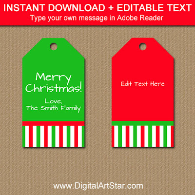 instant download christmas tags
