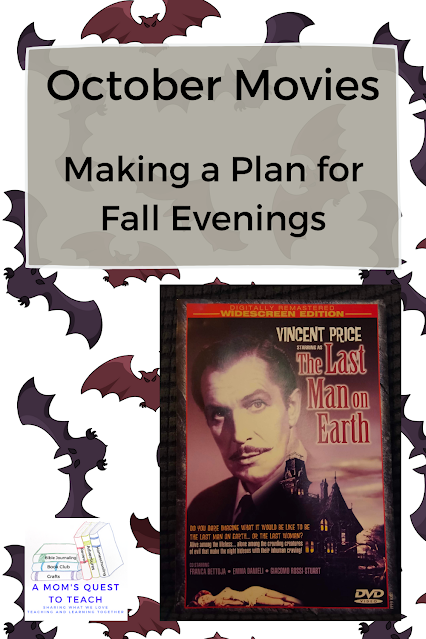 A Mom's Quest to Teach:  October Movies: Making a Plan for Fall Evenings - background bat clip art and photo of The Last Man on Earth DVD